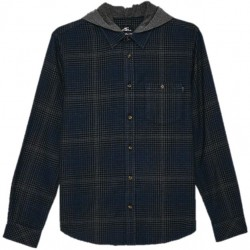 Boys 8 to 20 O'Neill Hooded Flannel Shirt - Navy