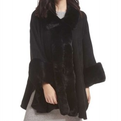 Cape Faux Fur Trim with Arm Hole - Black