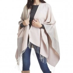 Cape with Fringe - Pink and Grey Color Block