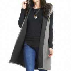Reversible Hooded Vest with Faux Fur Collar - Grey