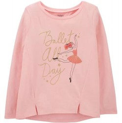 4 to 6X Girls Carters Pink Ballet All Day Jersey Long Sleeve Tee