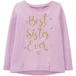 4 to 6X Girls Carters Lilac Long Sleeve Best Sister Ever Tee