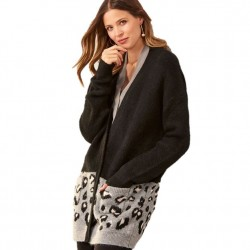 Cardigan with Front Pockets - Black/Animal