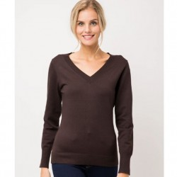 Long Sleeve V-Neck Sweater - Brown
