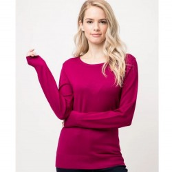 Long Sleeve Pullover Sweater - Magenta
