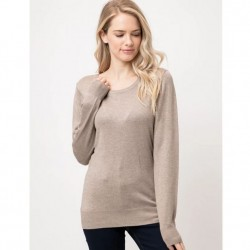 Long Sleeve Pullover Sweater - Camel