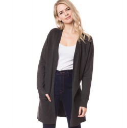Long Open Front 2 Pocket Cardigan - Charcoal