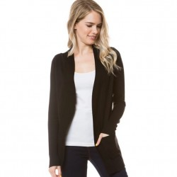 Open Front Rib Trim Cardy with Pockets - Black
