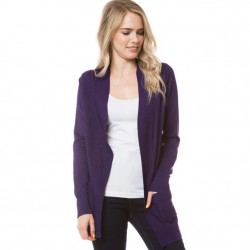 Open Front Rib Trim Cardy with Pockets - Purple