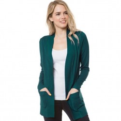 Open Front Rib Trim Cardy with Pockets - Teal