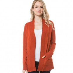 Open Front Rib Trim Cardy with Pockets - Rust