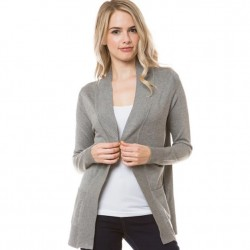 Open Front Rib Trim Cardy with Pockets - Heather Grey