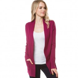 Open Front Rib Trim Cardy with Pockets - Magenta