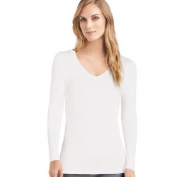Cuddl Duds Softwear With Stretch Long Sleeve V-Neck - Ivory