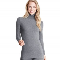 Cuddl Duds Softwear With Stretch Long Sleeve Turtleneck - Charcoal