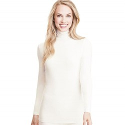 Cuddl Duds Softwear With Stretch Long Sleeve Turtleneck - Ivory