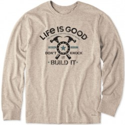 Life is Good Long Sleeve T-Shirt - Build It in Heather Mocha