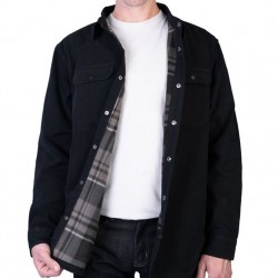Cotton Shirt Jacket with Flannel Lining - Black