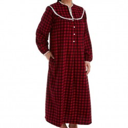 Lanz of Salzburg Flannel Nightgown - Red/Black Check