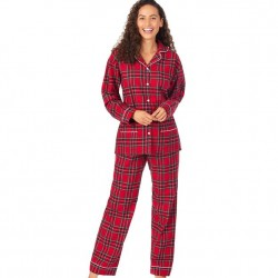 Lanz of Salzburg Flannel Pajama Set - Red Plaid