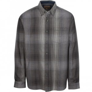North River Plaid Herringbone Twisted Yarn Shirt - Charcoal