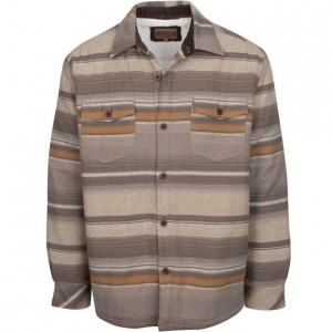 North River Flannel Jacket with Sherpa Lining - Dark Earth Stripe