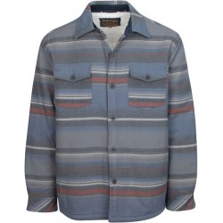 North River Flannel Jacket with Sherpa Lining - Indigo Stripe