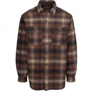 North River Flannel Jacket with Microfleece Lining - Brown Plaid