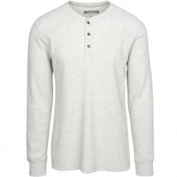 North River Waffle Henley - Natural Heather