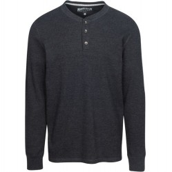 North River Waffle Henley - Charcoal Heather