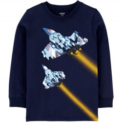 4 to 7 Boys Carters Long Sleeve Navy Fighter Jet Tee