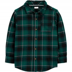 4 to 7 Boys Carters Plaid Twill Button Front Shirt