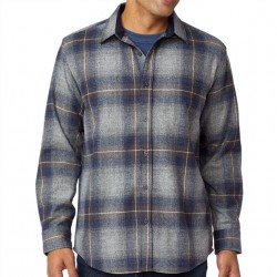 Pendleton Washable Wool Shirt with Round Tail - Grey/Navy Plaid