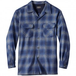 Pendleton Washable Wool Shirt with Straight Hem - Blue/Grey Plaid