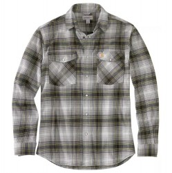 Carhartt Snap Front Flannel Shirt with 2 Flap Pockets - Asphalt Plaid