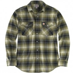 Carhartt Snap Front Flannel Shirt with 2 Flap Pockets - Winter Moss Plaid