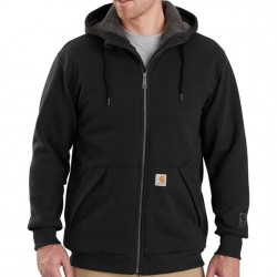 Carhartt Sherpa Lined Hooded Full Zip Sweatshirt - Black