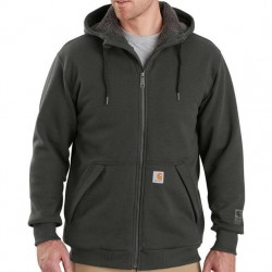 Carhartt Sherpa Lined Hooded Full Zip Sweatshirt - Peat