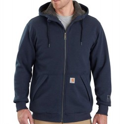 Carhartt Sherpa Lined Hooded Full Zip Sweatshirt - Navy