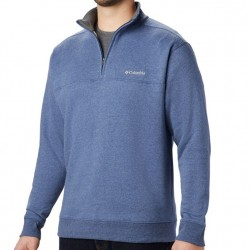 Columbia Half Zip Sueded Fleece Sweatshirt - Carbon Blue Heather