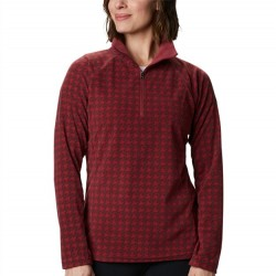 Columbia Glacial Fleece Zip Pullover - Red Houndstooth
