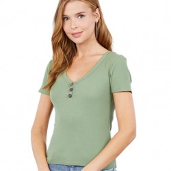 Short Sleeve Ribbed V-Neck Knit Top with Button Detail - Green
