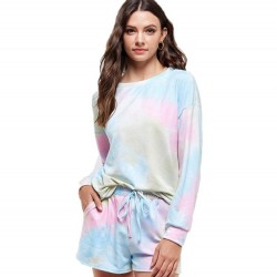 Tie Dye Crewneck Long Sleeve Knit Top and Knit Elastic Waist Shorts (Sold Separately)