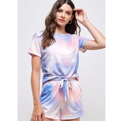 Tie Dye Crewneck Long Sleeve Knit Top and Knit Elastic Waist Shorts - Blush/Blue (Sold Separately)