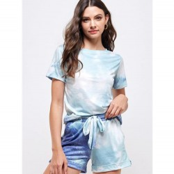 Tie Dye Crewneck Long Sleeve Knit Top and Knit Elastic Waist Shorts - Mint/Navy (Sold Separately)