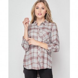 Plaid Long Sleeve Button Front Shirt - Heather Grey
