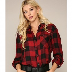Plaid Long Sleeve Button Front Shirt - Red/Black