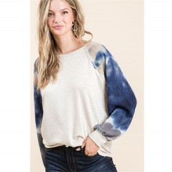 Long Sleeve Relaxed Fit Raglan With Waffle Thermal Tie Dye Sleeves - Blue