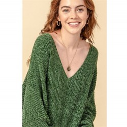 Solid Chenille V-Neck Dolman Sleeve Pullover Sweater - Dark Green