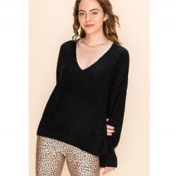 Solid Textured V-Neck Pullover Sweater - Black